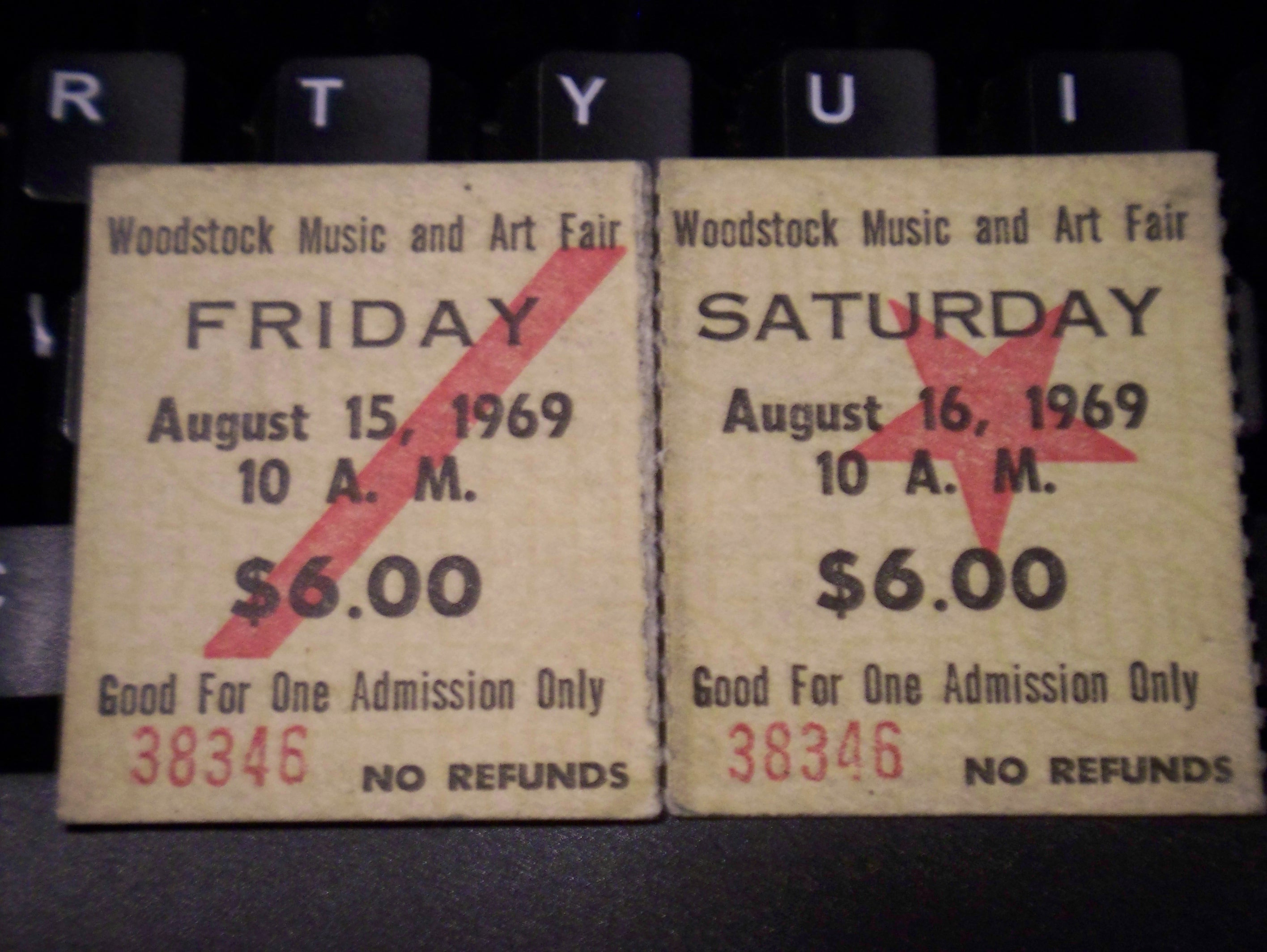 Woodstock tickets for Friday August 15th and Saturday August 16th, 1969